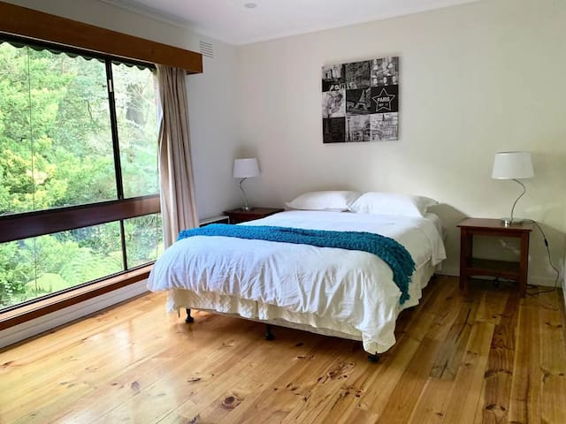 Room 3: First floor room with queen beds, big wall wardrobe, with gas heater on the wall. View at the green back yard.