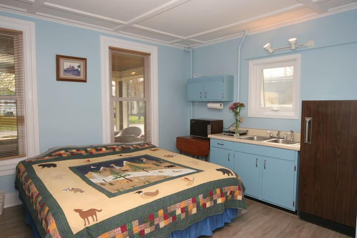 Studio including dishes, microwave, induction plate, refrigerator, tv with streaming.