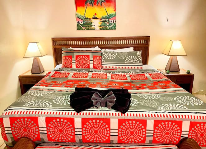 Enjoy your nights of rest in our master bedroom with a king size bed.