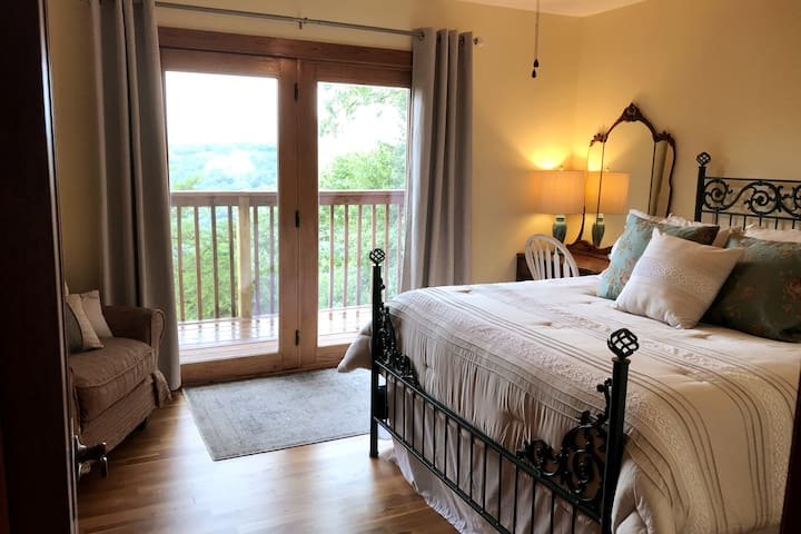 Cottage room upstairs with Private Balcony and the best views in the house!