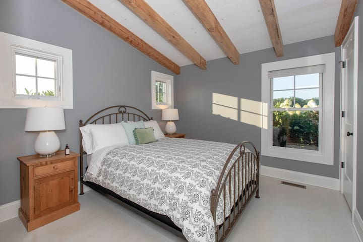 Downstairs bedroom off kitchen with queen bed, closet, and attached full bathroom.