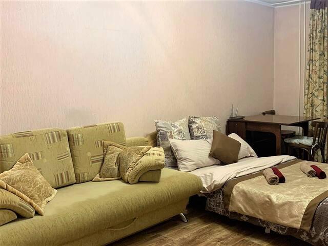 дополнительное спальное место на двух гостей - просторный раскладной диван