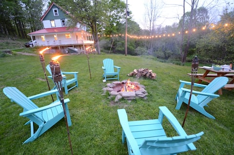 Secluded Catskills Farmhouse w hot tub on 50 acres