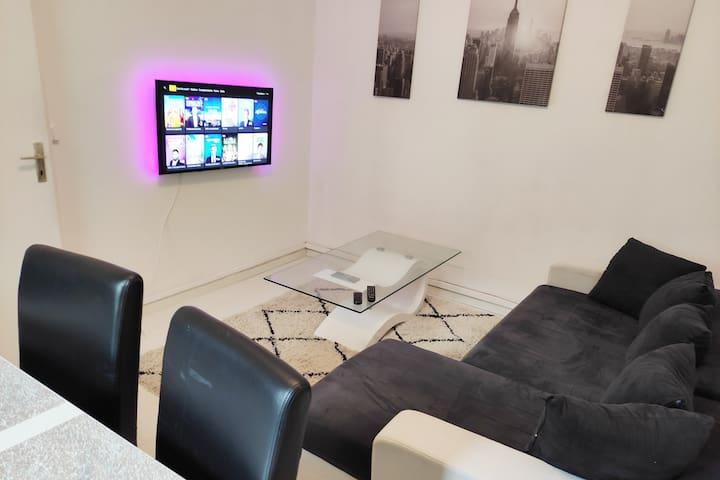 Salon rénové composé d'une grande table 6 places, un canapé lit 2 places, une tv Android connectée