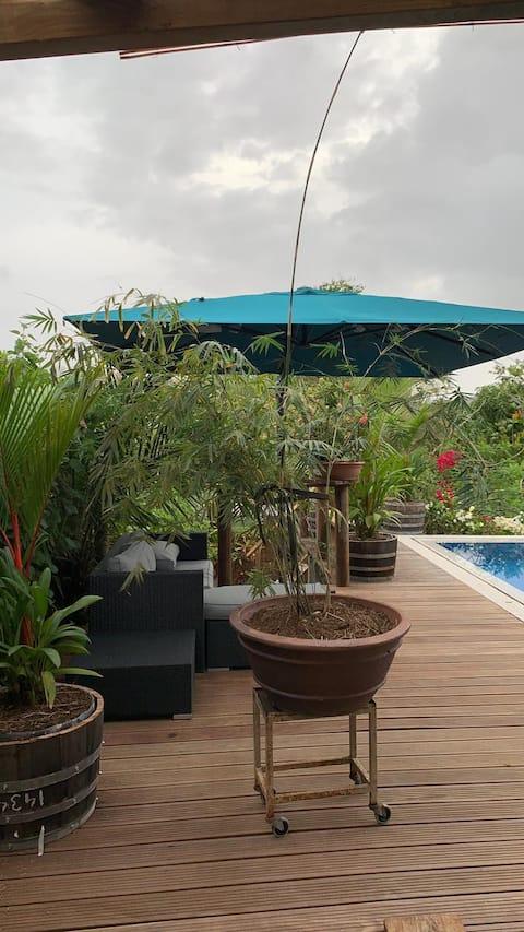 Fleur de palmier, bas de villa avec piscine privée