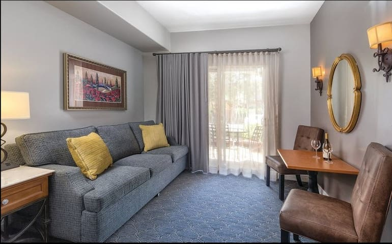 living area of the studio suite, with either a balcony or a private patio.
