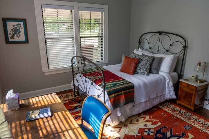Antique frame full bed, new Casper mattress, writing desk and refinished antique dresser.