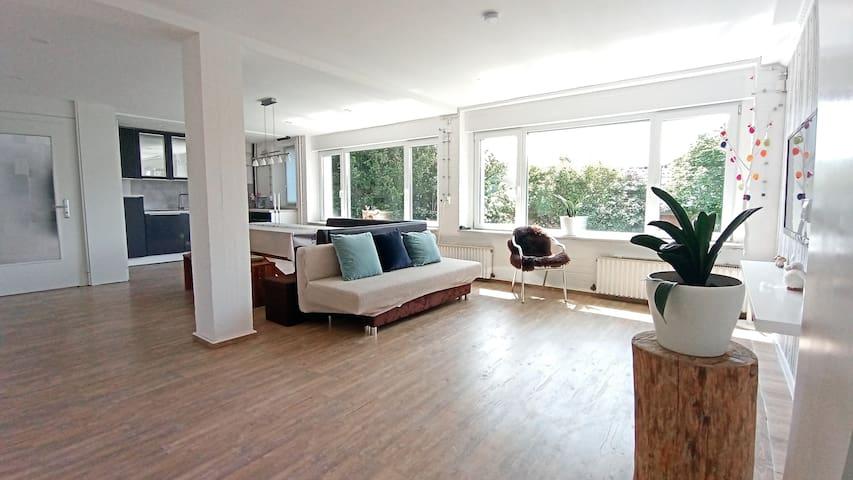 Daytime, the corner of the living room