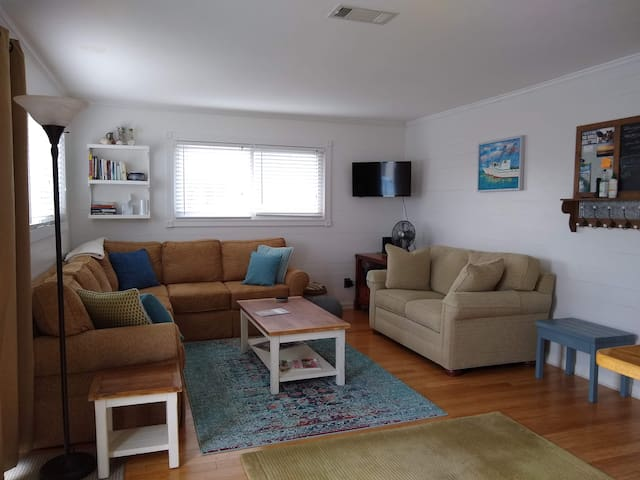 Open living space makes cottage feel quite spacious.  Sofa pulls out to queen bed as needed.
