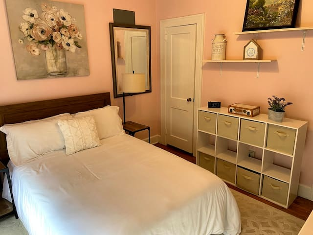 The first guest room has one full bed and a crib.  Perfect for a traveling family.