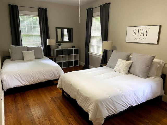 Second guest room features two queen beds and two large closets.  Great for groups or kids!