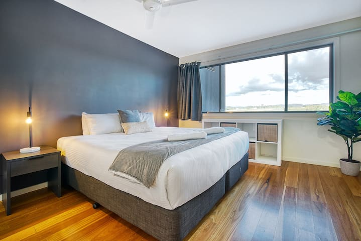 The second bedroom has a sumptuous queen-sized bed, with crisp white linens ready for you to sink in to.