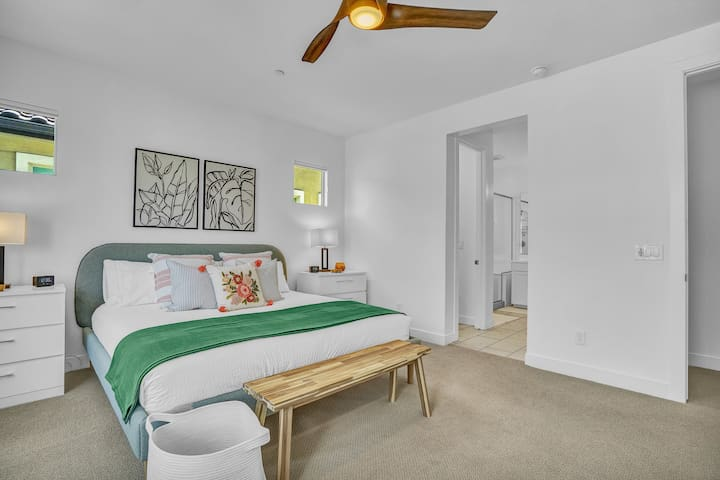 Master bedroom with a super comfortable king sized Sealy Response Performance (firm) mattress, cool Pima cotton-680 thread count linens, designated work space, room darkening shades, and plenty of room to spread out and relax!
