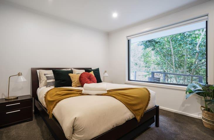 Beautiful bedroom with garden view