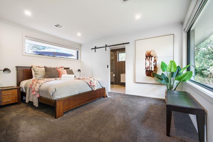 Spacious and comfortable bedroom, overlooking the garden