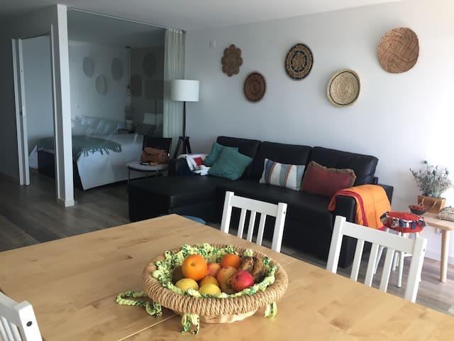 Área de refeições e de descanso ( sofá cama muito confortável)