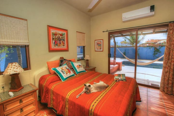 Guest bedroom, cat not included (was the prior owners!)  Extremely comfortable queen bed, AC, pool view, hammock and covered sitting area.