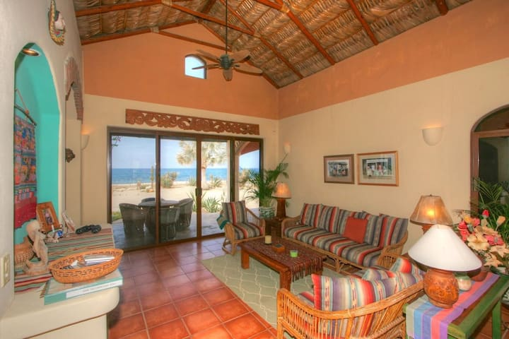 Living room with 14' high palapa roof.  TV, DVD player, direct access to both interior courtyard and covered outside dining area.