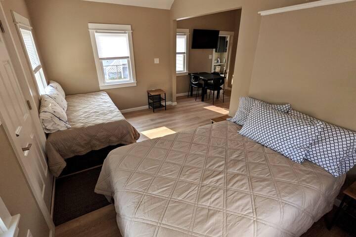 Full mattress with plenty of pillows