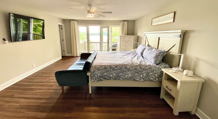 Upstairs Master Bedroom with private deck and beautiful lake view