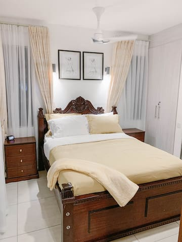 Guest BR  Right Wing - Enjoy Queen Size Bed with 1000TC Luxury Performance Cotton Rich Sheets, Cumulus Lightweight Comforter by Slumber Cloud, and i-Comfort Medium Mattress by Kenya's Furniture Palace
