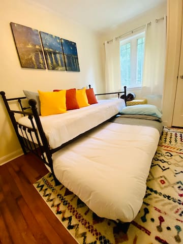 Sleep in the twin size trundle bedroom under the stars and you'll never want to Van Gogh home!