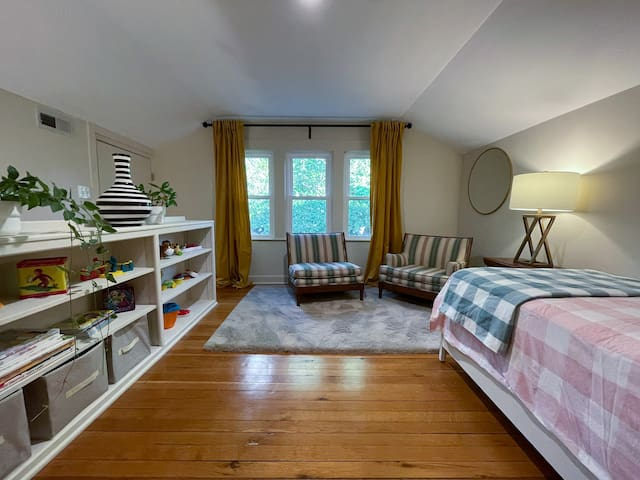 Loft area - upper level. Twin bed, sitting area, play area, and toys for children - Hayes House at Old Haigler Inn, Mint Hill, NC