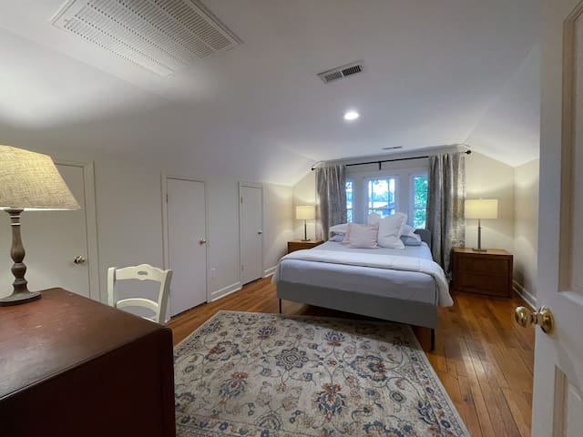 Guest room - upstairs. Features a queen bed with an option to add a twin bed if needed. Hayes House at Old Haigler Inn, Mint Hill, NC