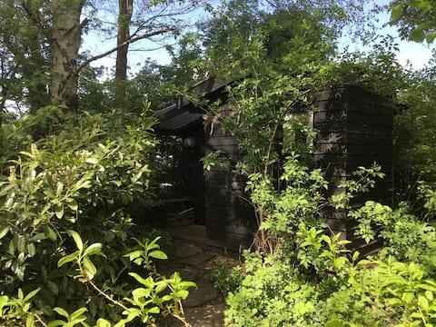 Mooi ingericht tiny house bij pleisterplaats tuin