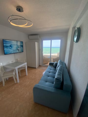 Living room with comfortable sofa bed