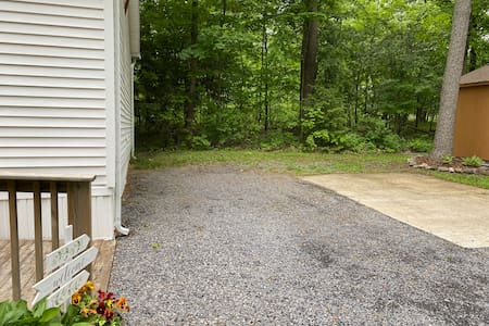 Two available parking spots; the ramp is right at the end of the house. Handicap entrance around to the side of the house (just follow the ramp).