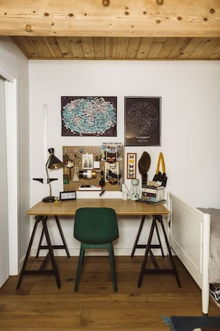 The kids' room desk, a perfect place to journal all your adventures.