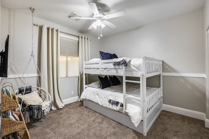 """Bedroom #3 has Full Size Bunk Beds with a 40"""" smart TV and ....."""