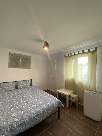Room with double bed, private bathroom and AC.