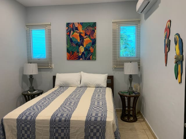 Mahi Mahi room: queen size and twin size beds with beach view