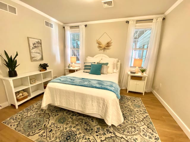 Serene bedroom with a queen size bed.