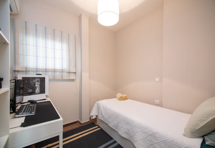 Pull out single or double bed ( message for choice to be ready on arrival ), office desk with chair & air conditioning.