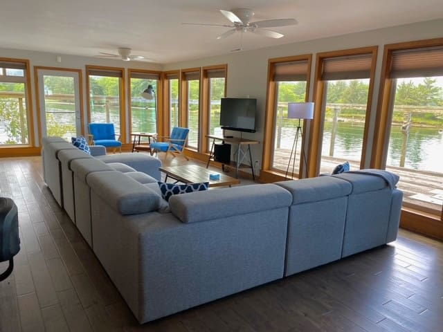 Plenty of space to sit and relax and take in the views indoors or outside on the huge deck.