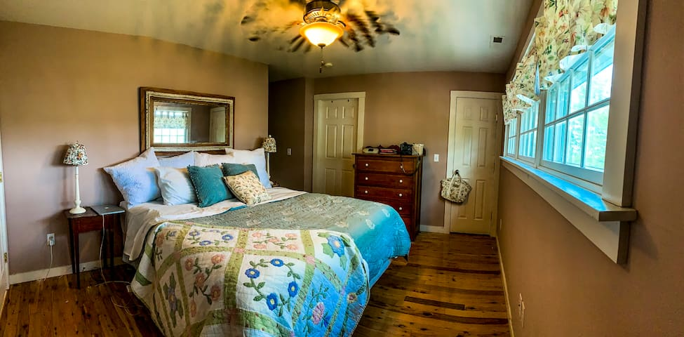 And finally, the master suite.  Enjoy your nights in this plush king-sized bed. TV will soon be added to this room.  The master has his and hers closets.