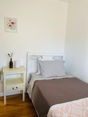 Bedroom 2, features Organic Cotton bedding and blanket.