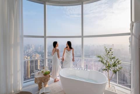 【北尧.Evian Plus】40层高空云端270度环幕落地窗/浴缸文殊院/高品质法式轻奢公寓/投影