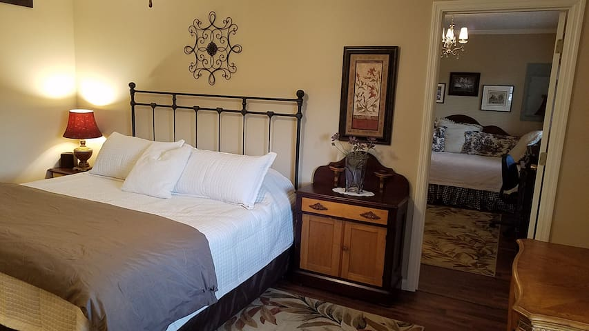 King size bedroom with view to the Office/anteroom .