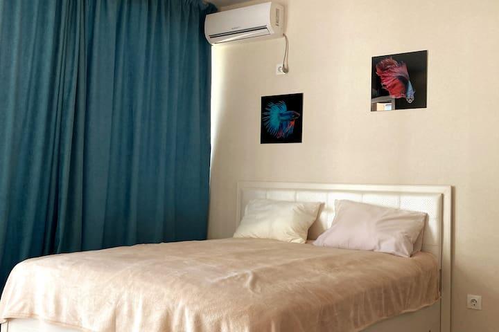 Просторная студия 31 кв. м . Кровать 160*2000 с ортопедическим матрасом, постельное белье сатин, прикроватный столик,  плотные шторы, сплит-система, зимой центральное отопление.