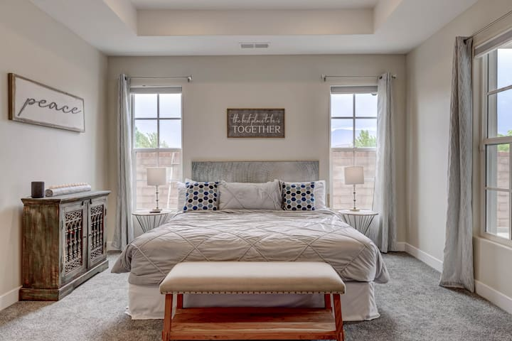 Master bedroom with an incredibly comfortable mattress.
