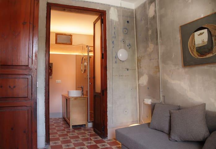 Habitación con sofá cama y acceso al baño