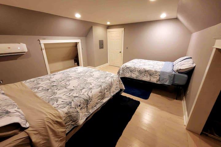 Bedroom 4 on second floor with Queen Helix mattress and Casper Full mattress.