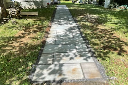 Bluestone walkway from end of driveway to entrance.