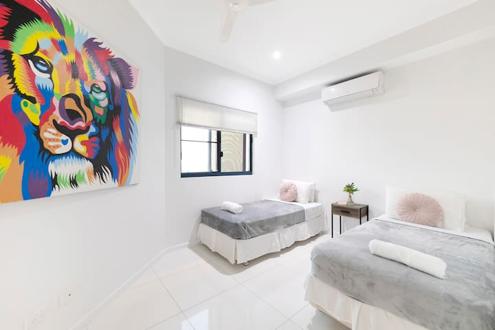 A second bedroom can offer two king single beds or one large king bed and features luxurious black-out blinds.