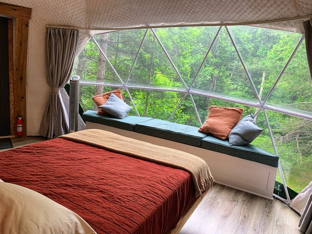 The view from the floating bed puts you in the tree tops of the hardwoods and pines.