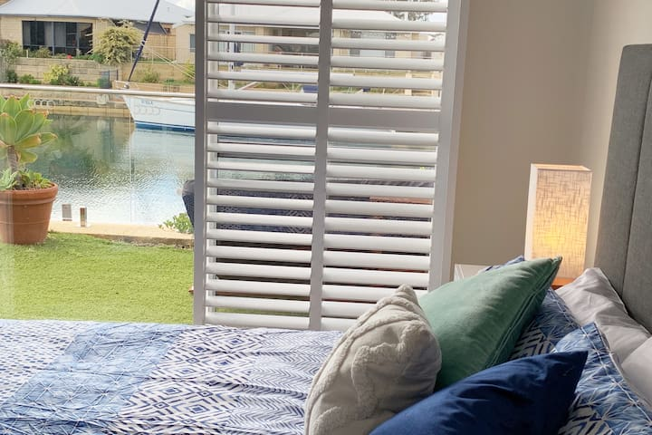 Master bedroom with view of the canals